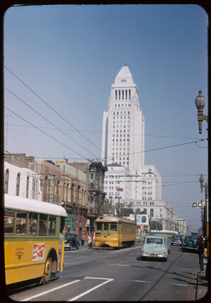 Up Main St. from 2nd toward City Hall, Los Angeles. Charles W. Cushman Photograph Collection (CWCPC), Indiana University Archives, Indiana University, Bloomington